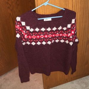Hollister maroon and pink knitted sweater